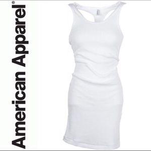 American Apparel White Ribbed Tank Dress